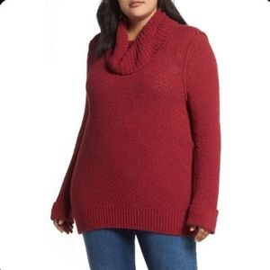 CASLON Cuff Sleeve Cowl Neck Sweater Red Sz L NWOT